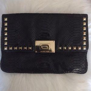 Michael Kors black snake clutch bag